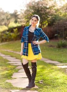 Look da Lu: xadrez e amarelo
