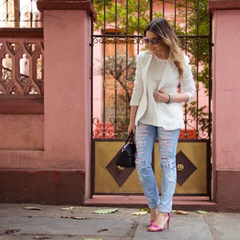 Look da Lu: blazer branco e sandália pink
