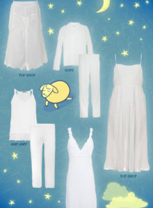 De pijama branco