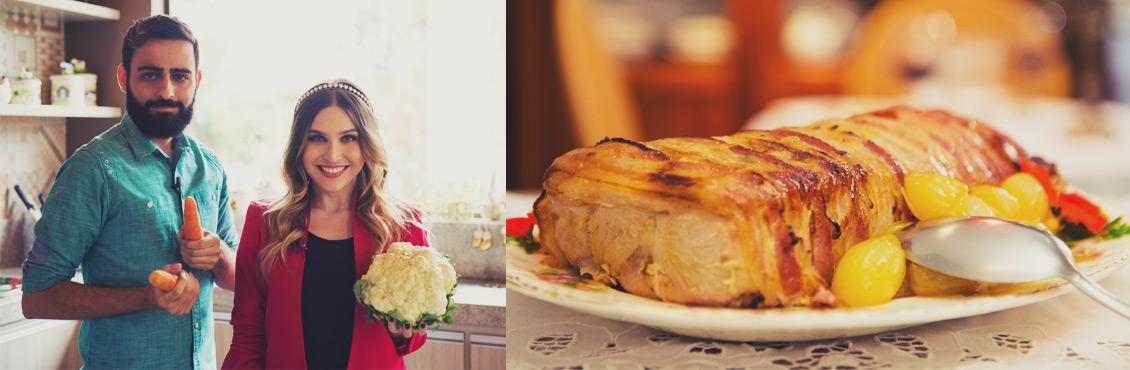 Receita de lombo com bacon e crumble de legumes - O Chef e a Chata - Lu Ferreira