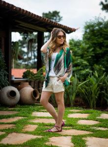Look da Lu: kimono e short branco