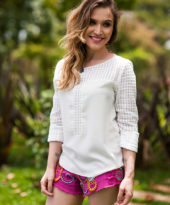 Look da Lu: short rosa e alpargatas