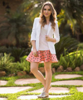 Look da Lu: mini saia e oxford