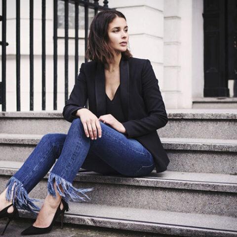 Jeans com barra (BEM) desfiada